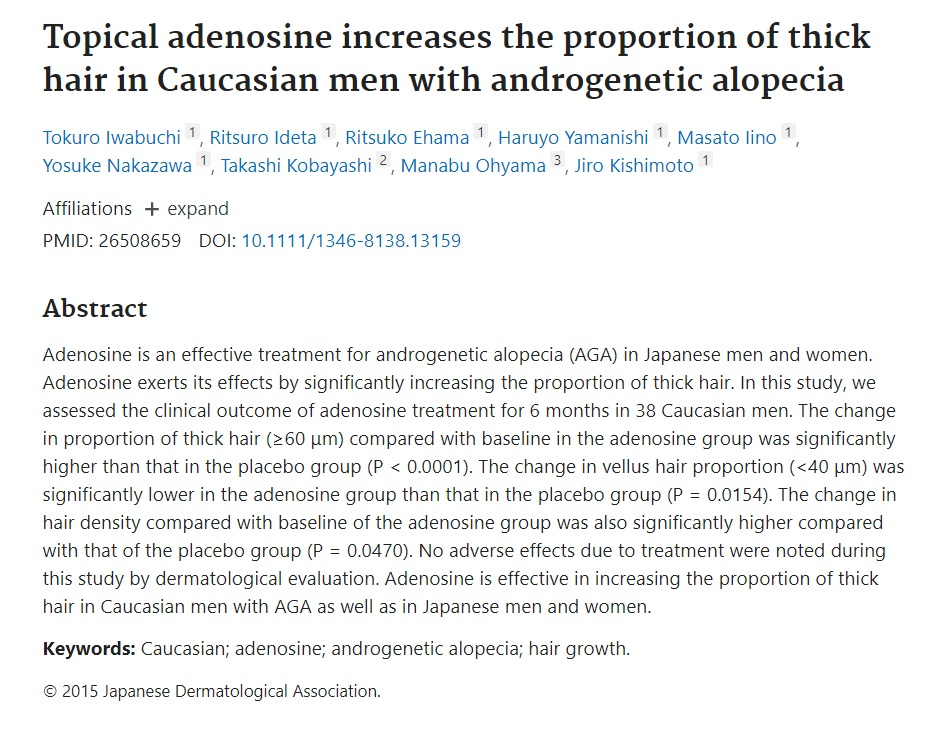 Topical Adenosine increases the proportion of thick hair with androgenic alopecia