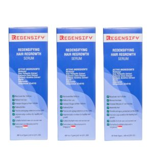 REGENSIFY Redensifying Hair Regrowth Serum 60 ml x 3 sets [Regrowth Serum Bundle Set] [Redensyl Serum with Adenosine, Biotin, Coenzyme Q10, Centella Asiatica, Saw Palmetto and Ecklonia Cava]