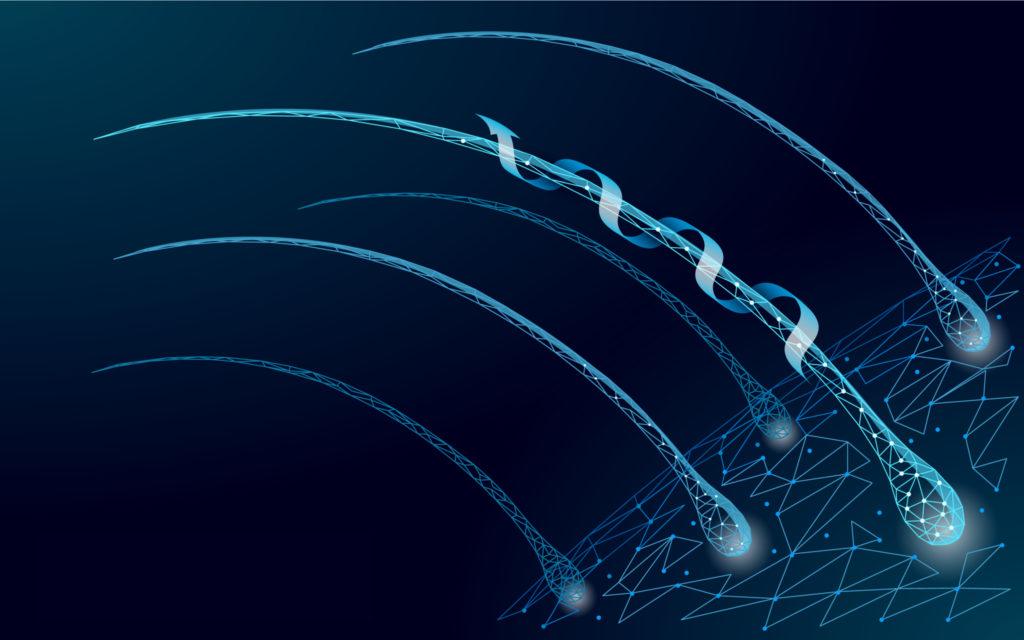 3D illustration of hair strands